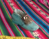 Clay shoe..sculptured.. hand formed, baked and glazed, turquoise, my own design,  one of a kind