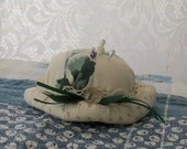 Pin Cushion..small hat ..HANDMADE.. country style  one of a kind by Virginia Proffit Crane