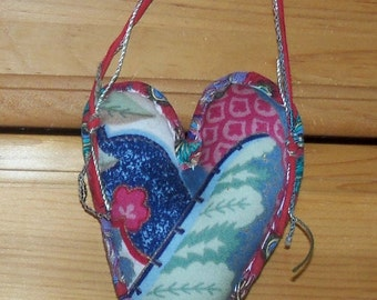 pin cushion hand stitched pieced  heart...cotton and muslin hang it for pins needles decoration doorknob
