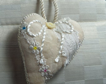 heart.handmade .White on white. velvet heart. lace satin antique button handstitched one of a kind my design