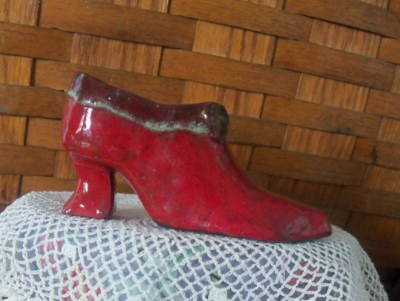 Clay Shoe hand formed..sculptured..kiln baked..glazed..signed  by Virginia Proffit Crane