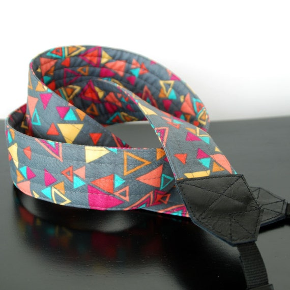 SLR Camera Strap with Genuine Leather Ends- Extra Long, Quilted Strap-Triangulo-Free Shipping