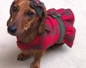 The HUNTRESS Plaid Christmas Dress for Dogs with FREE matching headband