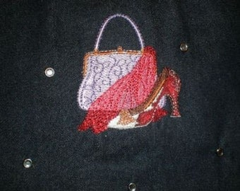 Purse, Scarf and Shoe Embroidered Tote