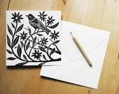 Linocut Block Print Card - Bird
