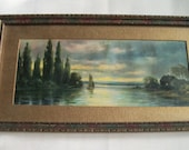 Old Framed Picture of Lakeside Cottage Scene