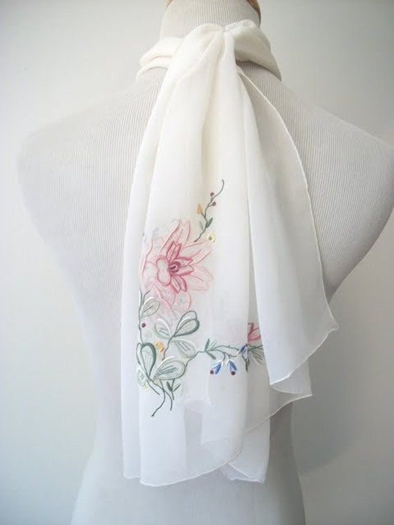 sale // Vintage 50s THE TOP DOWN Embroidered Chiffon Scarf
