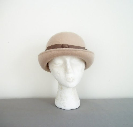 Vintage 50s Brown Felt Bowler Hat