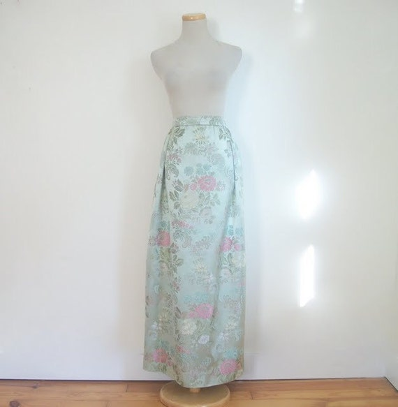 Vintage 60s Silk Brocade Maxi Skirt