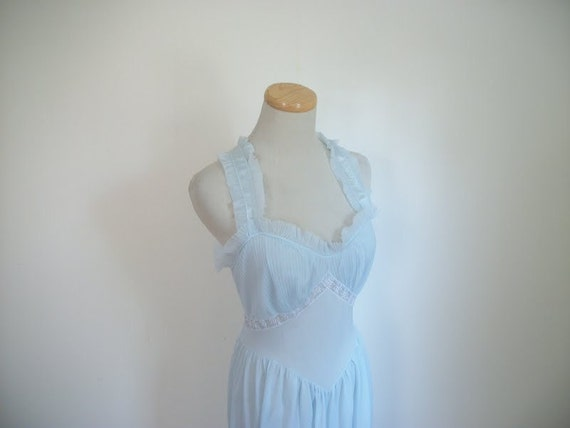 Vintage 50s Blue Tricot Nightgown