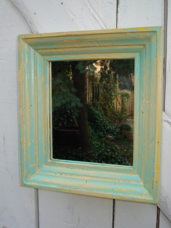 reclaimed wood mirror (blue and yellow)