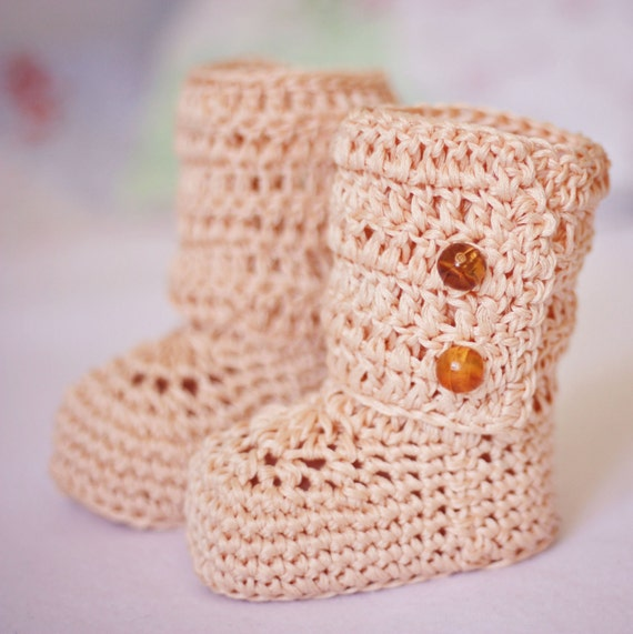 Crochet Baby Booties - Baby Ankle Boots ready to wear (6-9 months)