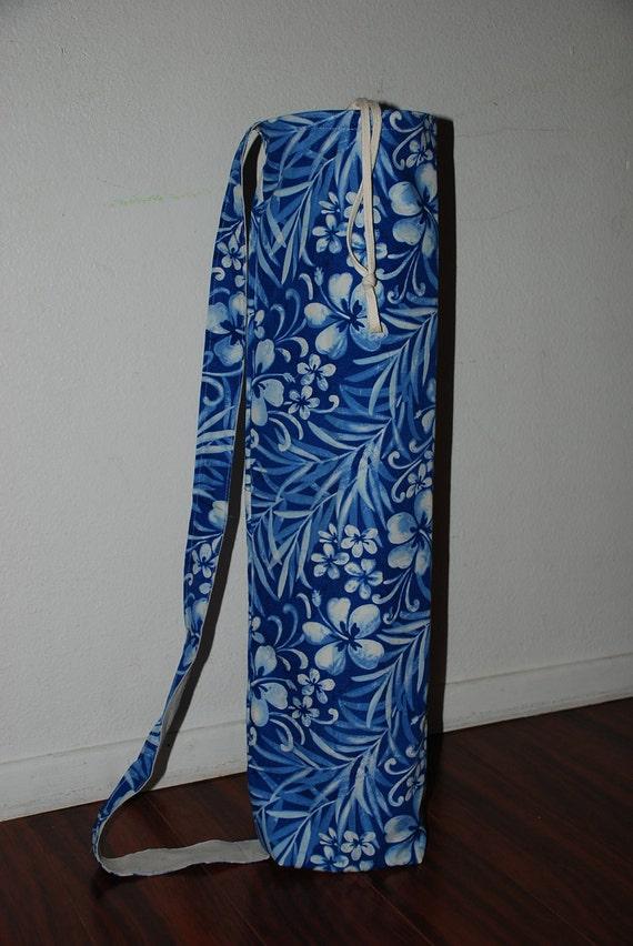 Hawaiian print yoga mat bag with drawstring closure