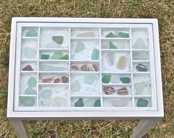White end or side table for displaying a collection of jewelry, sea shells, beach glass, medals, arrowheads or more natural or manmade finds