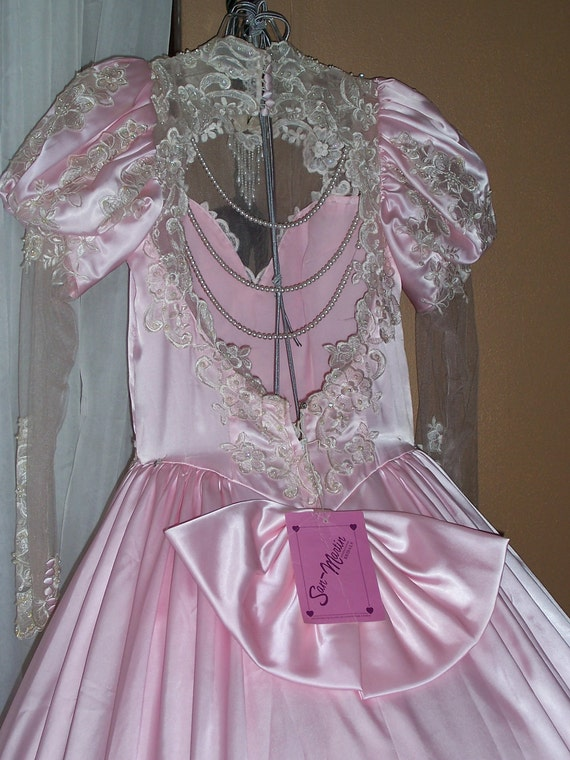 San martin pink satin vintage wedding gown by auldmemories for Vintage wedding dresses san diego