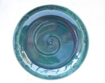 "Dark Green Stoneware Plate, Breakfast Dish, Dessert Plate, Salad Plate, 7.5"" Diameter"