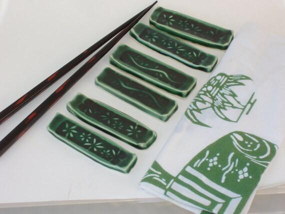Green Chopstick Rests with Vine Design