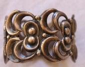 Vintage Repousse Sterling Taxco wide clamper bracelet