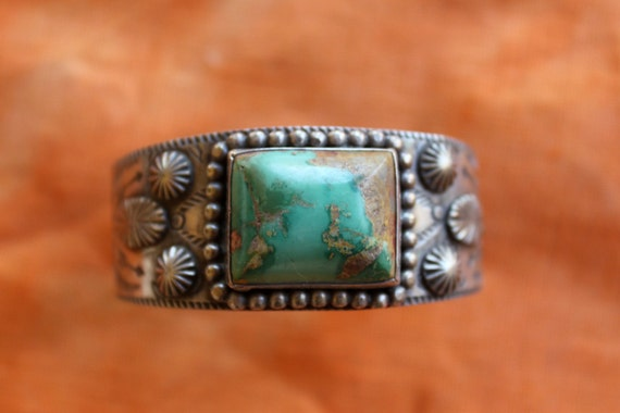 Reserved for Libby Vintage embossed stamped Navajo turquoise cuff