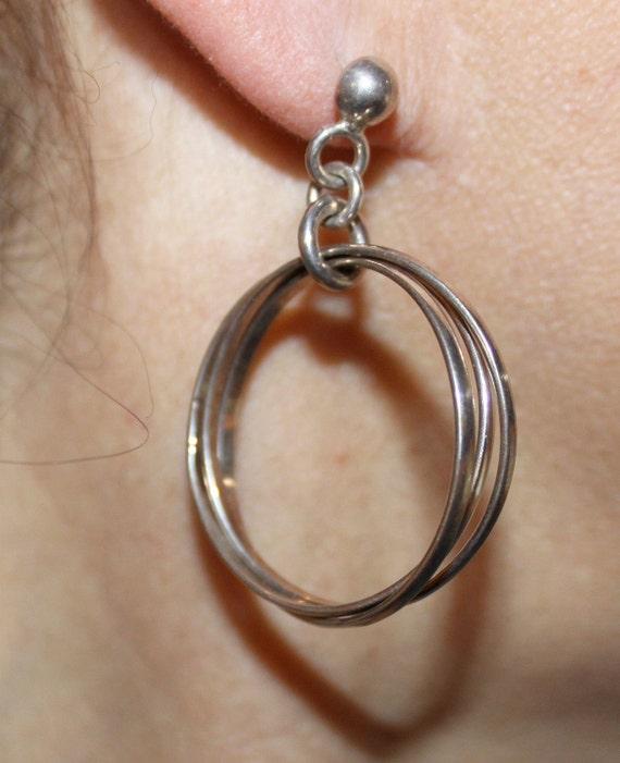 Vintage 925 Mexican dangle triple hoop earrings