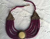 Purple Beaded Tribal Necklace