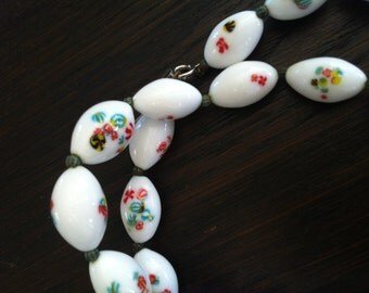 Milk Glass Beads Vintage White Milifori Beads