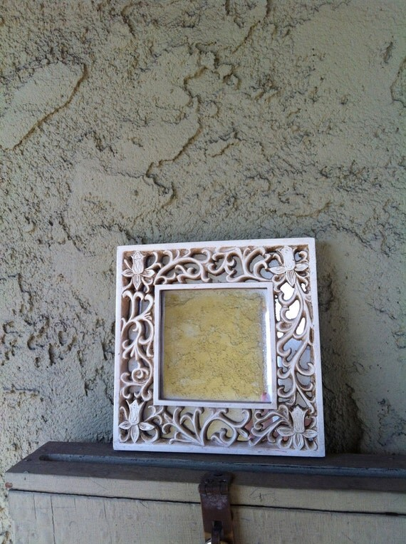 Beautiful Vintage Ivory Colored Frame and Mirror