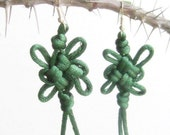Good luck green cord knotted earrings