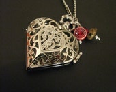 Lovely heart Watch Necklace with  Murano crystal