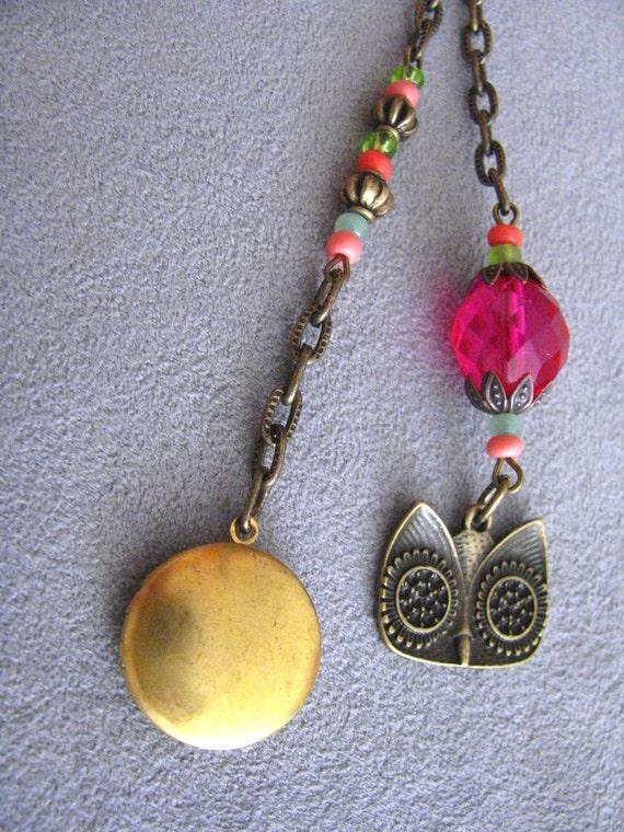Owl locket keychain
