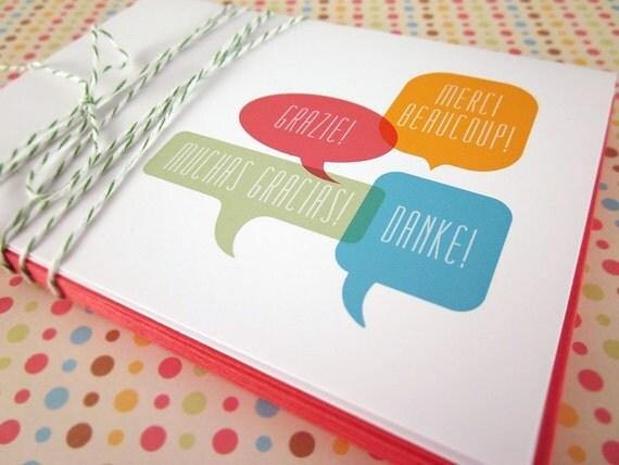 International Thank You Speech Bubble Note Cards 6PK