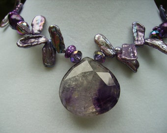 Rutilated Moss Amethyst Petal Keishi Pearl Crystal Gold Filled Necklace Lovely