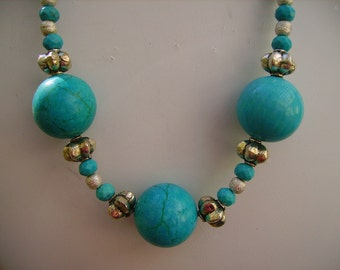 Turquoise Large Ball Chunky Sterling Silver Necklace Lovely