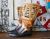 Vintage BOHO Flat Leather Boots with Cutouts
