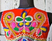 Vintage COLORFUL Embroidered Traditional Portuguese 3 Piece Outfit Skirt Corset Apron