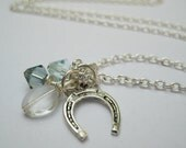 SALE Silver Horseshoe Charm Necklace with Blue