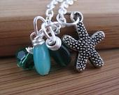 Starfish Charm Necklace w/ Emerald Green