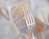 Hand Stamped Bride and Groom Wedding Cake Tasting Forks by Blithe Vintage