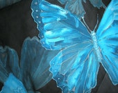 Unique handmade blue silk scarf with butterflies pattern. Long chiffon shawl for ladies. Elegant feminine accessory with healing energy.