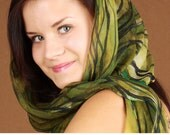 Green Fairy hand painted silk chiffon scarf. Moss green/ leaf green transparent scarf painted by artist. One-of-the-kind