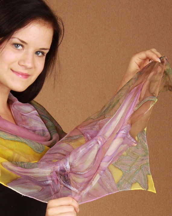 Shiny floral silk chiffon scarf hand painted. OOAK yellow pink and lilac accessory. FREE worldwide tracked shipping