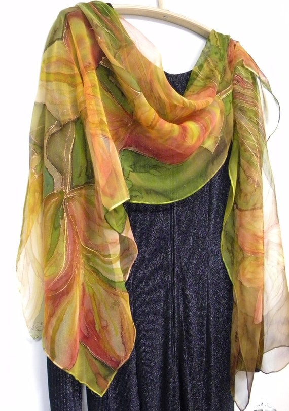 Hand painted silk scarf wearable art with orange yellow lilies on green FREE shipping