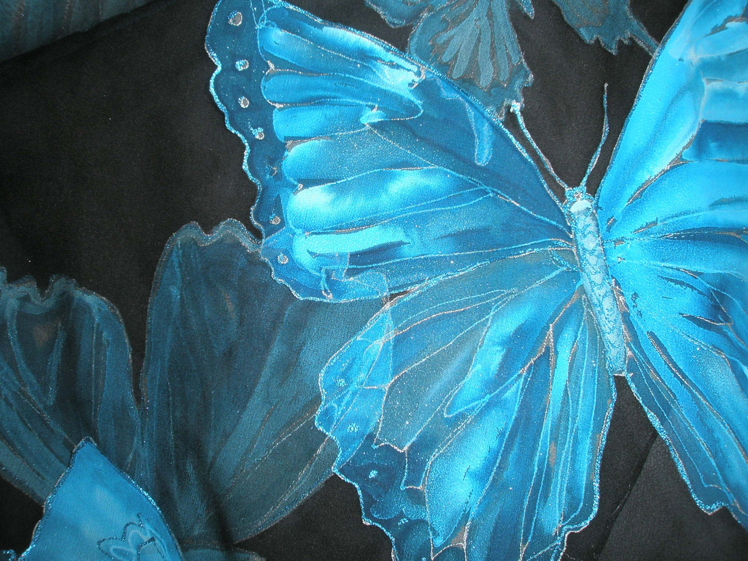 unique handmade blue silk scarf with butterflies pattern