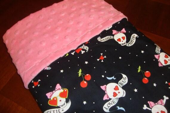READY TO SHIP Rockabilly skull cherries love bug girly baby blanket