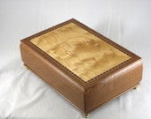 wooden keepsake box -  mens valet box - Leopardwood with Quilted Maple