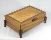 wooden keepsake box - mens valet box Mahogany with Lace Maple