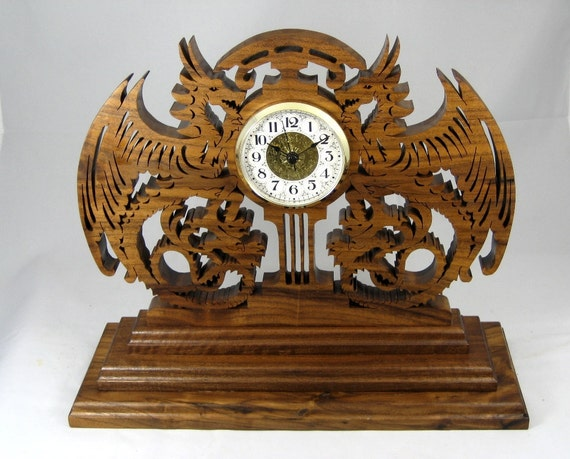 wood clock Walnut Time Guardians