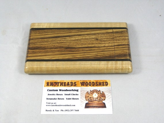Business Card Case Zebrawood with Curly Maple