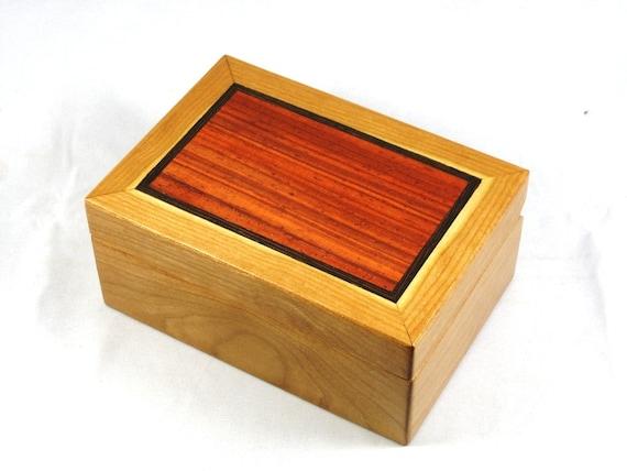 wooden stash box - trinket box - Cherry with Padauk