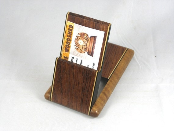 Business Card Case Figured Bubinga with Curly Satinwood